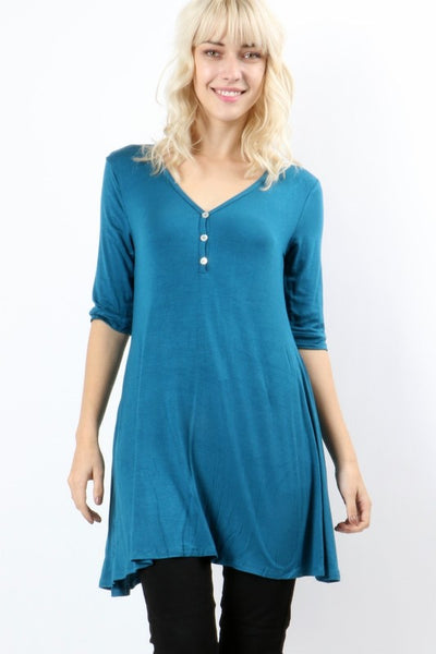 Teal Button Trimmed Tunic Top
