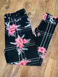 Custom Legging Black Yoga Pink Floral