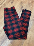 Custom Legging Black Yoga Red & Black Plaid