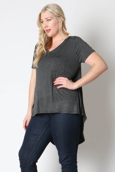 Charcoal Hi Low Top in Curvy
