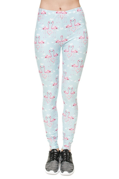 Flamingo Hearts OS Leggings (Fits a 0-10)