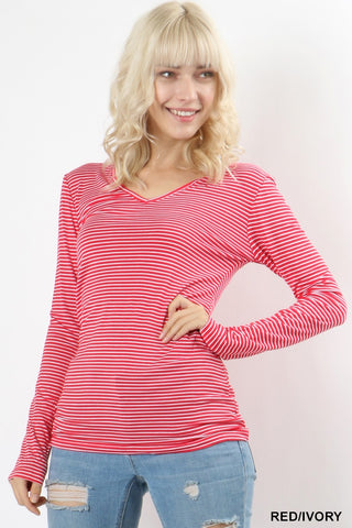 Red/Ivory Stripped Tunic Top