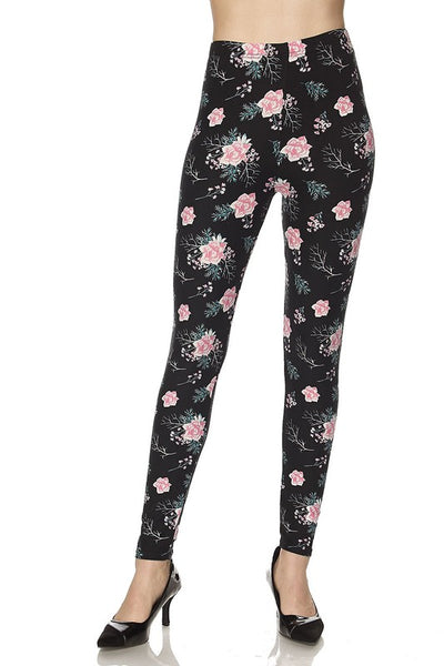 Black and Pink Floral OS Legging