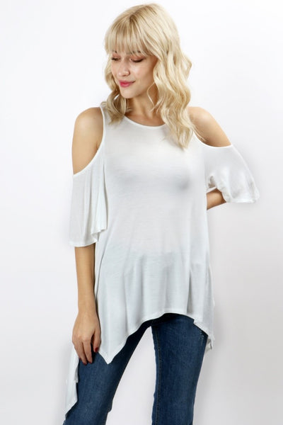 Ivory Handkerchief Cold Shoulder Top