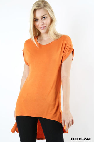 Deep Orange Split Dolman Top - Hi Low