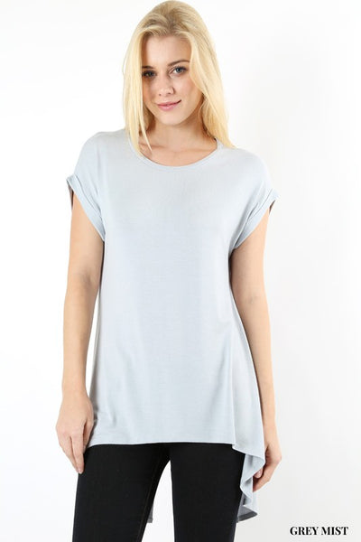 Grey Mist Split Dolman Top - Hi Low