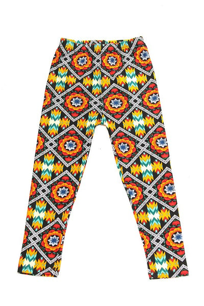 Kids Orange Aztec Pattern Leggings