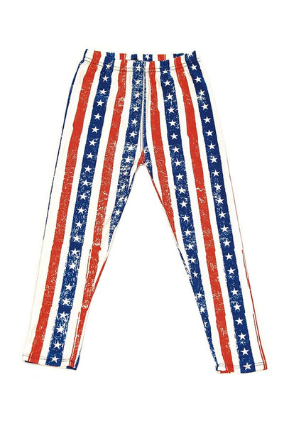 Kids Red White and Blue Stripped Leggings