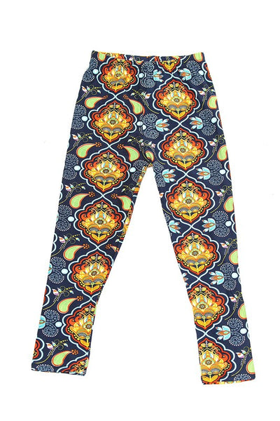 Kids Orange and Blue Pattern Leggings