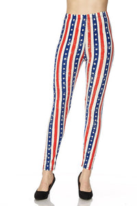 Red White and Blue Stripped OS Legging