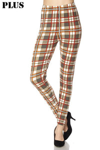 Tan and Orange Plaid Plus Legging