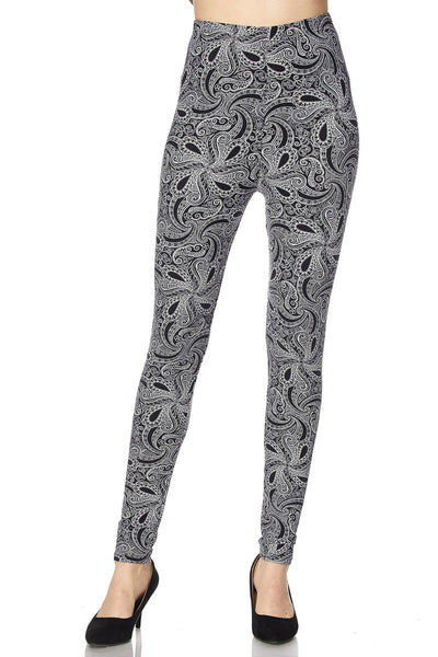 Black Paisley OS Legging