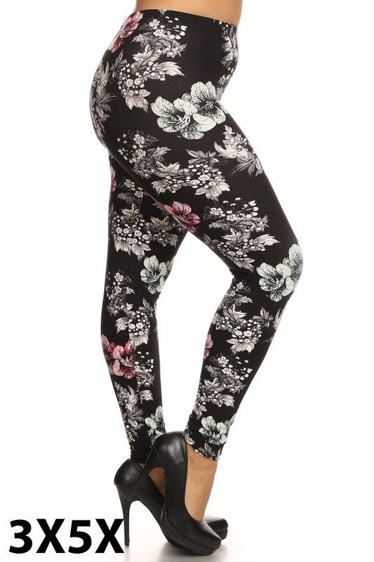Black Floral Extra Plus 3x-5x