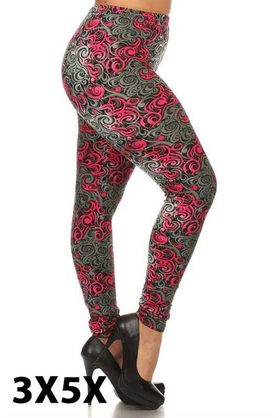 Pink and Gray Extra Curvy Legging
