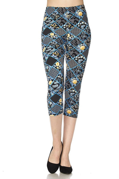 Blue Patchwork Capri OS Legging