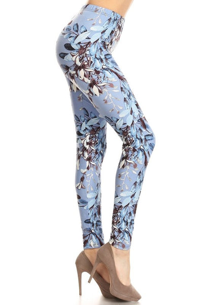 Blue Floral Plus Legging