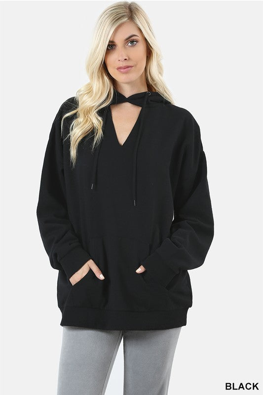 Solid Hoodie Sweatshirt with Choker Neck and Kangaroo Pockets (6 Colors)