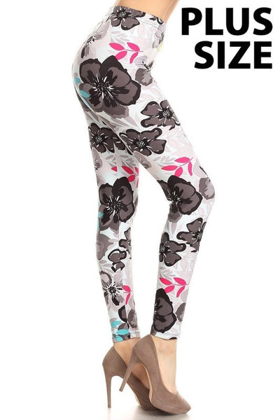 Gray Flower Plus Legging