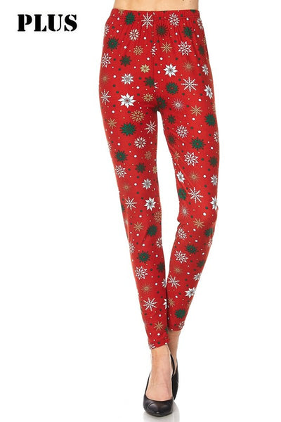 Red and Green Snowflakes Plus Legging