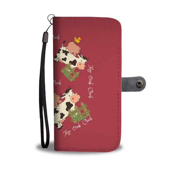 Moo Oink Cluck Cell Phone Wallet With RFID - Custom Printed By Keene's
