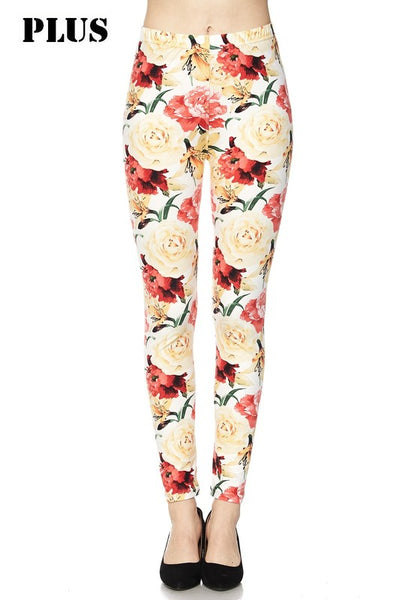 Floral Light Yellow Plus Legging