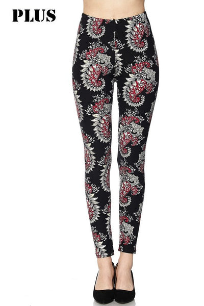 Paisley Black With Red Plus Legging