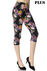 Black Spring Floral Capri PS Legging