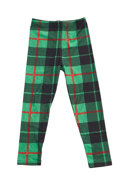 Green Plaid Kids Legging