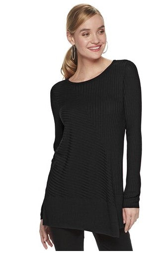 Black Long Sleeve Sweater Tunic - XXL