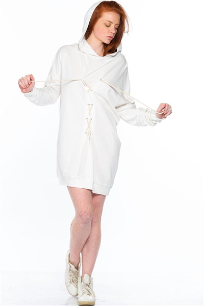 Ivory Oversized Lace-Up Tunic Sweatshirt Dress