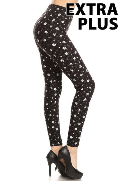 Black Dainty Flower Extra Plus Legging 3x-4x