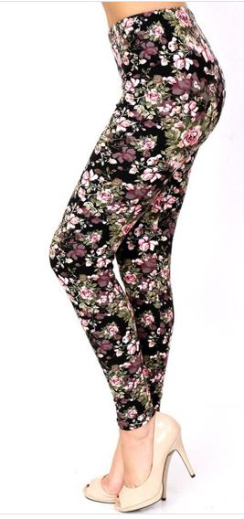 Gray and Pink Flowers Plus Legging