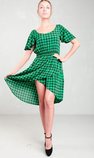 Green and Black Checkered Hi Low Dress