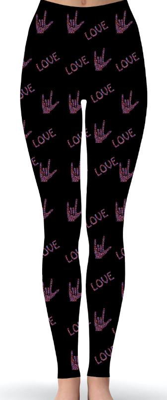Custom ASL Love Print Leggings