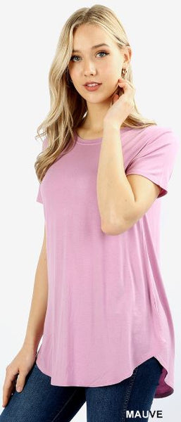 Short Sleeve Round Neck Round Hem Mauve PS Top -  Plus Size