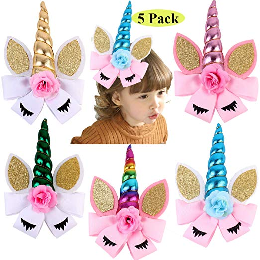 "Unicorn Bow Set With Horn 8"" (5 Pack)"