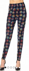 Multi Color Snowflake OS Legging