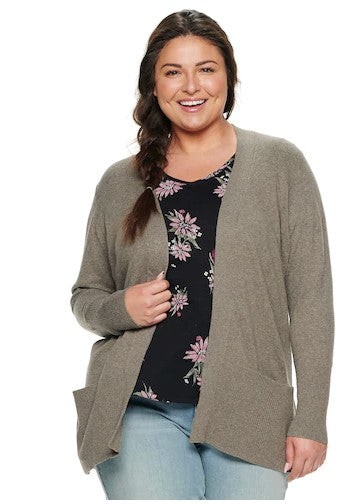 Otter Heather Long Sleeve Cardigan - 1X, 3X