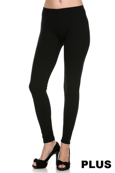 Black Solid Plus Legging