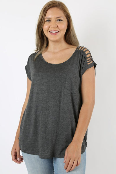 Charcoal Ladder Sleeve Top in Curvy