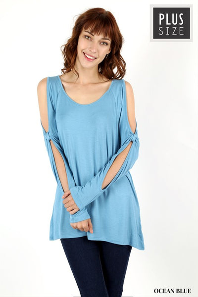 Ocean Blue Cold Sleeve Top in Curvy