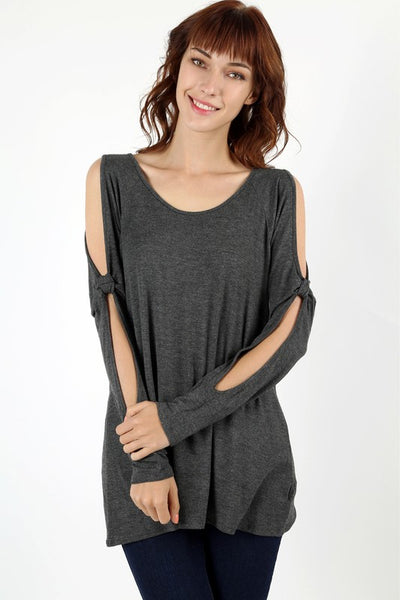 Charcoal Cold Sleeve Top in Curvy