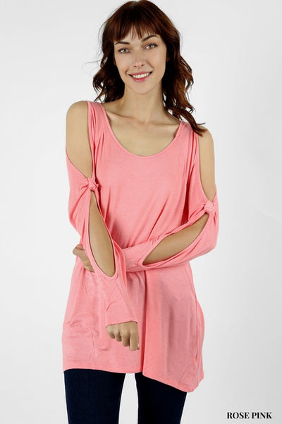 Rose Pink Cold Sleeve Top in Curvy