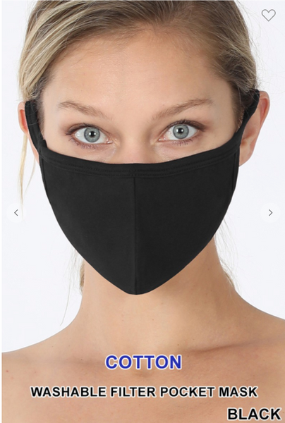 Black Face Mask With Filter Pocket - IN STOCK NOW