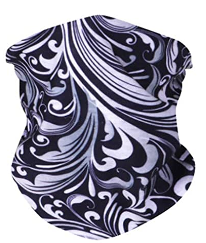 Black and White Scroll Neck Gaiter - IN STOCK