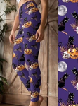 Custom Black Cat on Pumpkin OS Legging