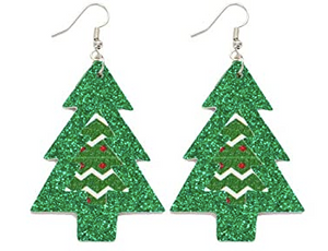 Green Glitter Tree Earrings