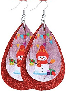 Snowman With Holly and Red Glitter Earrings