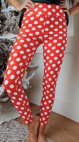Custom Red With White Polka Dots Legging L/XL