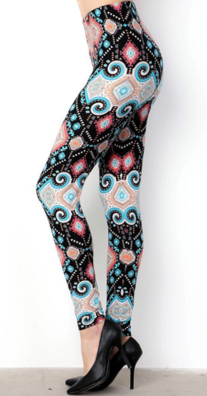 Black and Sky Blue Print OS Legging
